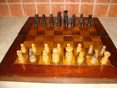 Vintage Antique Wooden [Probably Georgian]Chess Board With Later Chess Pieces • 55£
