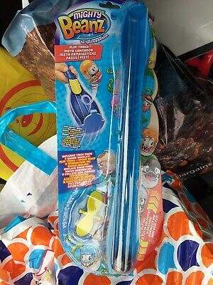 Mattel Mighty Beanz Flip Track Tricks Games Blue Exclusive Bean Included • 7£