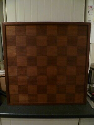 VINTAGE Very Large Solid Wood Inlay Chess Board 65cm X 65cm With 7.5cm Squares  • 55£