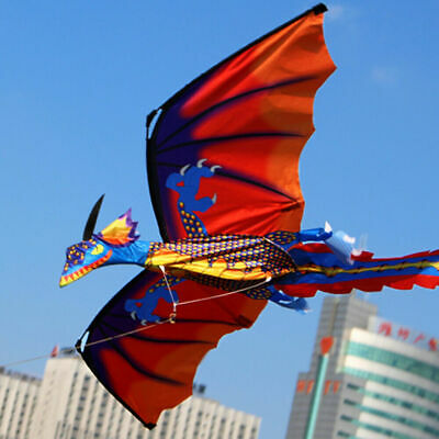 Outdoor Game 3D Dragon Kite Single Line With Tail Toys For Family Children • 15.99£