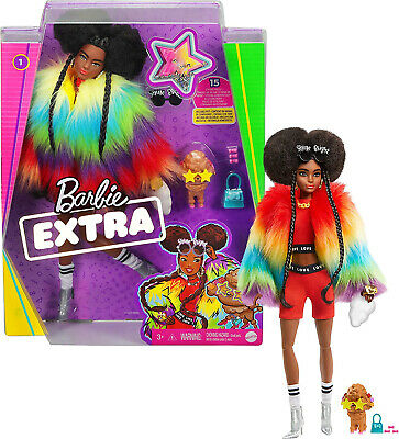 Barbie Extra Doll In Rainbow Coat With Pet Dog Toy • 29.99£