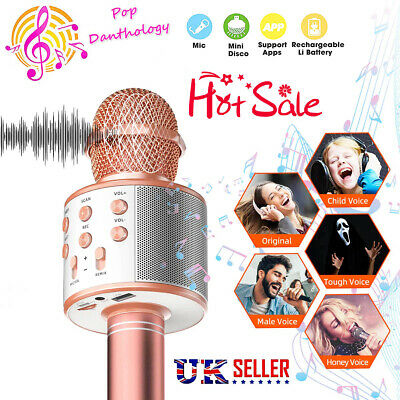 Children Microphone Bluetooth Mic Karaoke Singing Kids Music Fun Toys Gifts New • 11.41£