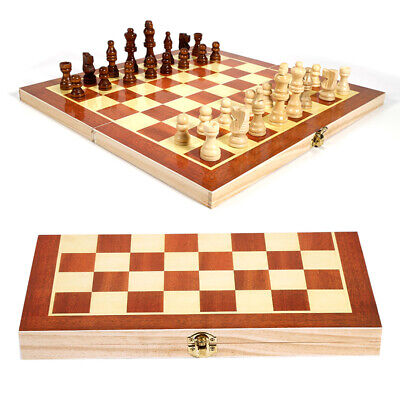 UK Folding Large Wooden Chess Set High Quality Chessboard Kid Gift Toy --50%OFF • 17.79£