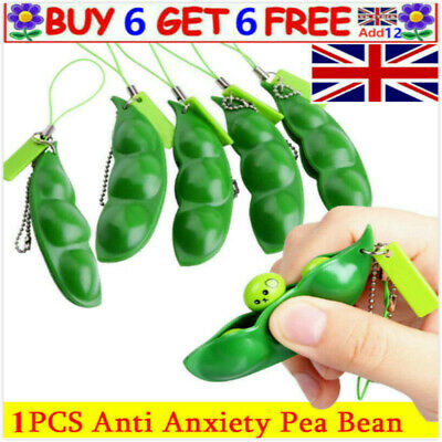 Squeezy Soy Bean Pea Pod  Stress Relief Toys Keyrings Anti-Anxiety Fidget Autism • 1.98£