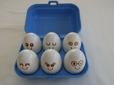 Vintage Tomy Hide 'n' Sqeak Eggs -  Match Shapes And Faces - 1993  • 5£