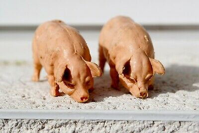 VINTAGE CHERILEA FARM ANIMALS 2 PIGS 1960s TOY Farm Animals • 5£