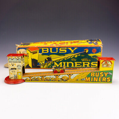 Vintage Louis Marx Clockwork Toys - Tinplate Busy Miners Railroad Toy - Boxed! • 49.99£
