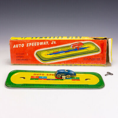 Vintage Automatic Toy Co. Clockwork Tinplate Auto Speedway Jr Car Track - Boxed! • 29.99£