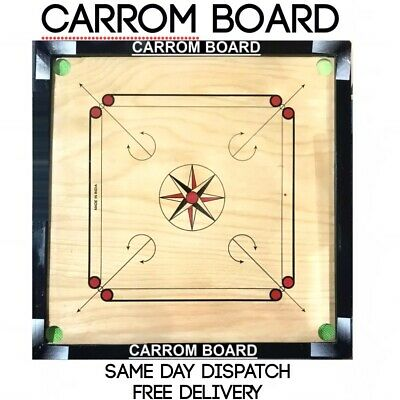 Large Carrom 32 X 32  Board Coins & Striker Set Great Quality Family Game Asian • 79.99£