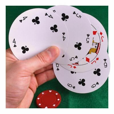Poker Chip Shaped Round Playing Cards 54 Pack Novelty • 3.89£