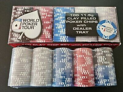World Poker Tour WPT Clay Filled Poker Chips With Dealer Tray 100 11.5g NEW • 30.59£