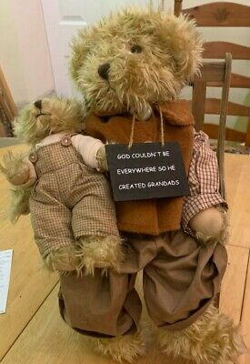 Grandad And Grandson Teddy Bear On Wooden Chair, With Plaque • 28£