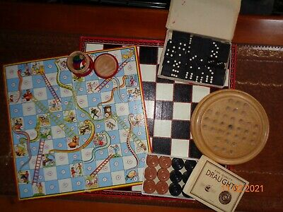 Vintage Board Games Snakes Ladders Dominos Checkers Ludo Berwick And Others • 6£