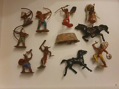 Vintage Lone Star & Crescent And Britans Toy Indians. • 6.99£