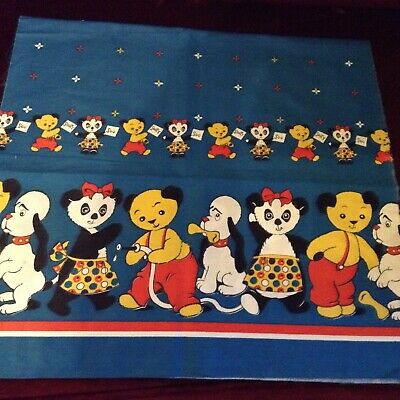 Vintage Sooty And Sweep Fabric. 46cm X 90 Cm. Blue Background • 10.50£
