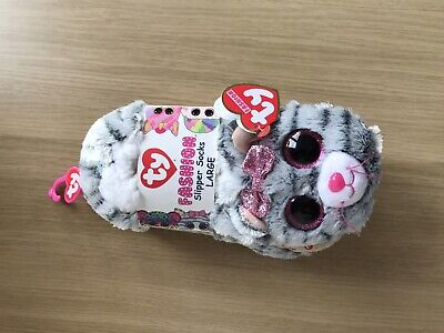 TY Beanie Boo Kiki Cat Slippers Large • 9.50£