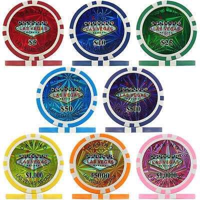 Las Vegas Casino Numbered Laser Poker Chips, 11.5g ABS Composite • 4.99£