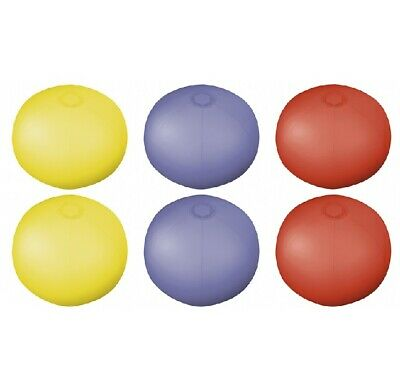6 X 9  TRANSLUCENT COLOUR INFLATABLE BLOW UP BEACH BALLS BALL Red Yellow Or Blue • 1.99£
