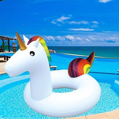 Giant Inflatable Unicorn Water Float Raft Summer Swim Pool Lounger Beach Ring • 5.75£