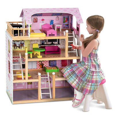 Wooden Kids 3 Storey Doll House With Furniture Accessories Mansion Playhouse Toy • 59.99£