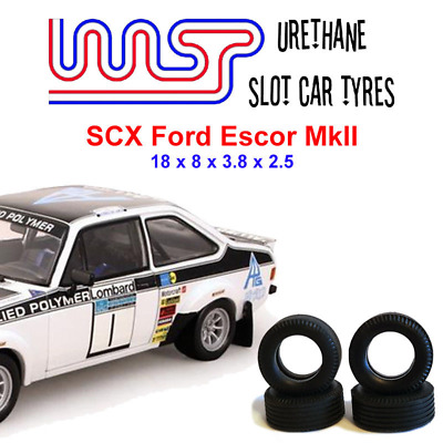Urethane Slot Car Tyres X 4 Wasp 17 SCX Ford Escort MkII Rally Front Rear • 6£