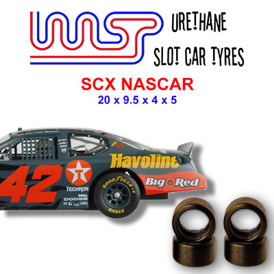 Urethane Slot Car Tyres X 4 Wasp 18 SCX NASCAR Front Rear • 6£