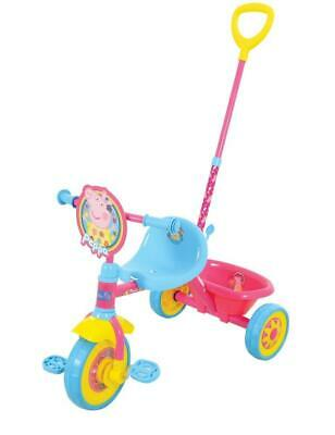 Peppa Pig My First Trike Kids RideOn Pedal Toy Boys Girls Tricycle Parent Push • 34.99£