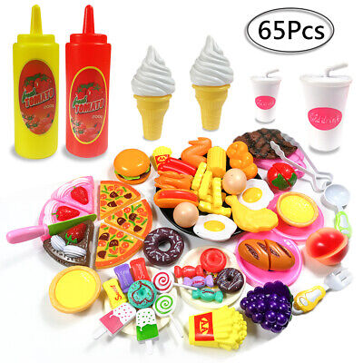 65pcs Kids Toy Pretend Role Play Kitchen Pizza Food Cutting Sets Children Gift • 13.90£