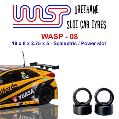 Urethane Slot Car Tyres X 4 Wasp 08 19 X 8 X 2.75 X 5 Fit Scalextric • 6£