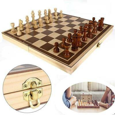 Folding Wooden Chess Set High Quality Standard Chess Set Chessboard 30x30CM • 8.39£
