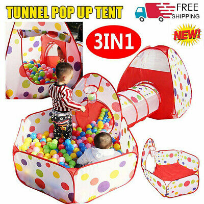3in1 Portable Childrens Kids Baby Play Tent Tunnel Ball Pit Playhouse Pop Up New • 18.69£