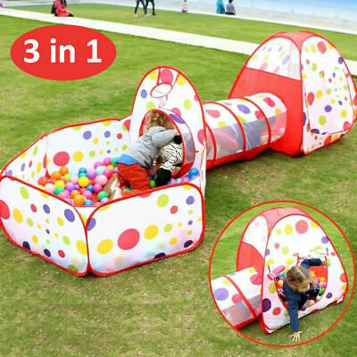 Portable 3 In 1 Childrens Kids Baby Play Tent Tunnel Ball Pit Playhouse Pop Up • 18.99£