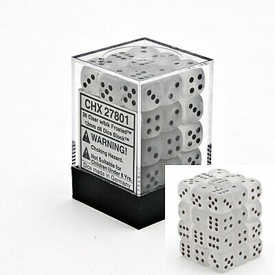 Dice And Gaming Accessories D6 Sets Frosted: 12mm D6 Clear/Black (36) • 11.51£