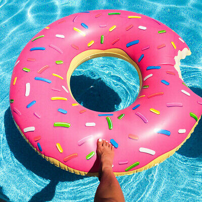 Large Inflatable Donut Swim Ring Tube Pool Float Lounger Beach Swimming Toy Lilo • 4.79£