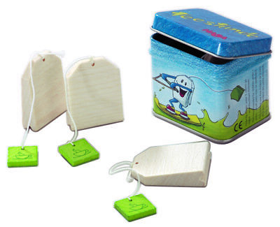 Teebeutel-Dose 4 Tea Bags Wood IN The Tin Can Wooden Toy Shop Haba 1515 • 9.53£
