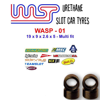 Urethane Slot Car Tyres X 4 Wasp 01 19 X 9 X 2.6 X 5 Multi Brand Fit • 6£