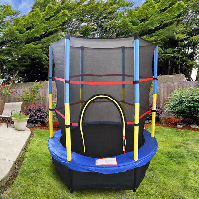 55  Junior Trampoline Set 4.5FT With Safety Net Enclosure Kids Outdoor Toy Blue • 109.97£