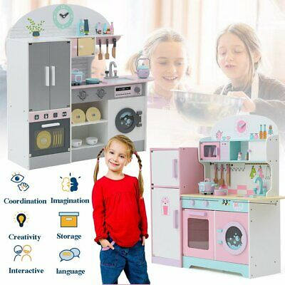 2020 Deluxe Kids Toy Kitchen Large Children Wooden Cooker Girls Boys Play Set CR • 40.99£