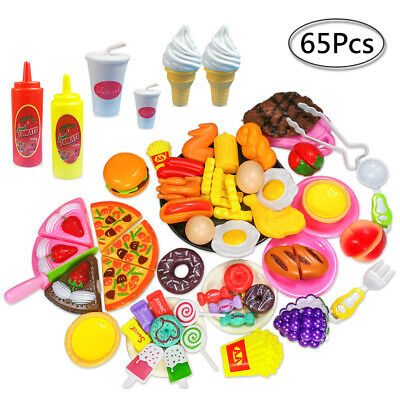 65pcs Kids Toy Pretend Role Play Kitchen Pizza Food Cutting Sets Children Gift • 11.99£