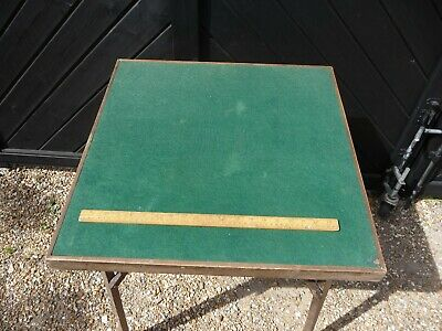 Antique / Vintage A.J.British Made Folding Card Table With Green Velvet Surface  • 49.99£