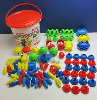 Vintage TOMY TOMYTIME POPOIDS Animals Playtub TOY 1989 RETRO 87 Pieces 0256 • 46.99£