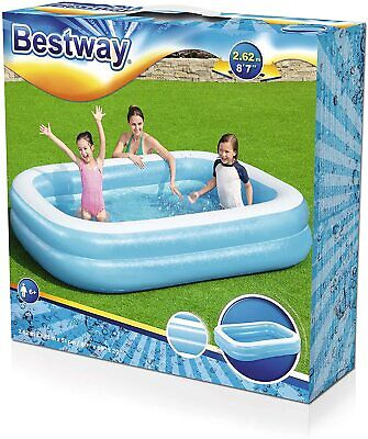 Bestway Kids Paddling Pool Inflatable Garden Swimming 8' 7  Summer Large Outdoor • 33.99£