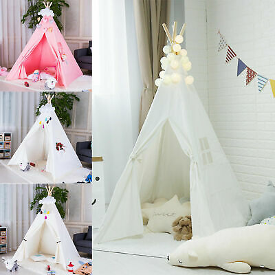 Large Cotton Canvas Kids Teepee Tent Childrens Wigwam Indoor Outdoor Play House • 17.99£