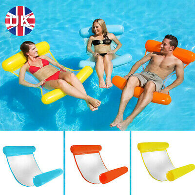 Inflatable Floating Water Hammock Float Pool Lounge Bed Swimming Chair Beach UK • 9.89£