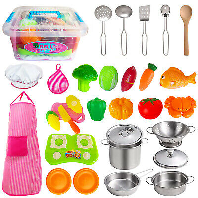 29 Piece Childrens/Kids Metal Toy Pots Pans Kitchen Cooking Play-Food Set Gifts • 15.99£