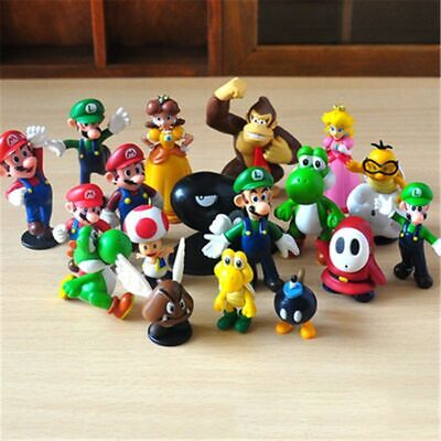 New 18 Pcs Super Mario Mini Figure Cute Toys Doll Action Figures Collection Gift • 10.58£