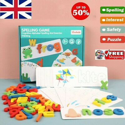 Wooden Cardboard English Spelling Alphabet Game Early Education Educational UK • 10.33£