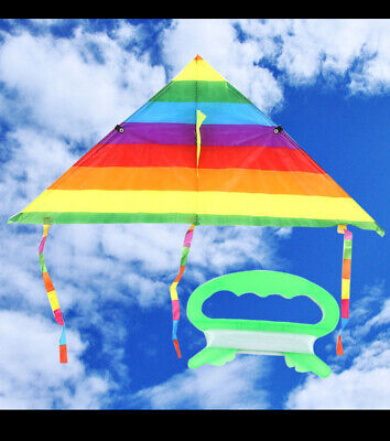Colorful Rainbow Triangle Kids Kite Outdoor Fun Sports Beach Kids Children New • 2.89£