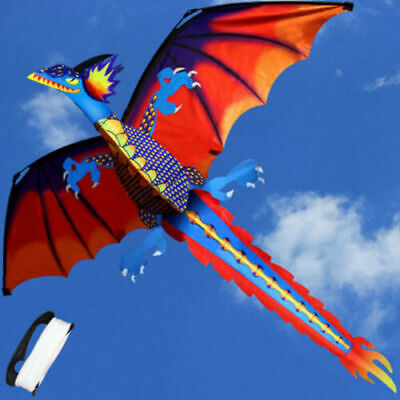 Kids Toy 3D Dragon Kites With Tail 328ft Line Flying Activity Game Children Gift • 13.88£