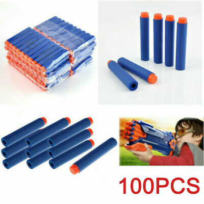 100x GUN SOFT REFILL BULLETS DARTS ROUND HEAD BLASTERS FOR NERF N-STRIKE TOY • 6.99£
